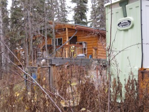 My dry cabin, outhouse in foreground.