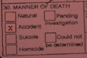 Alaska's Death Certificate, box 30