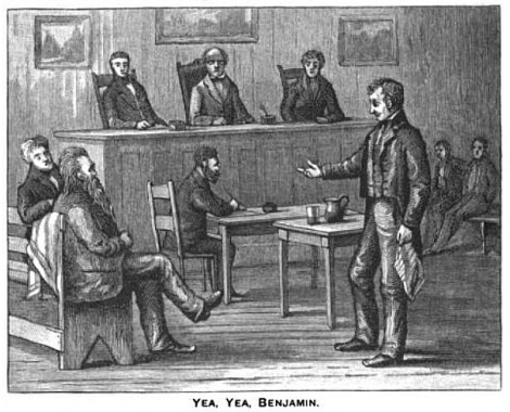 Court room illustration of Live Forever Jones, the long-haired, long-bearded gentleman seated on the left, answering the query of prosecutor Ben Hardin, Public Domain via KookScience