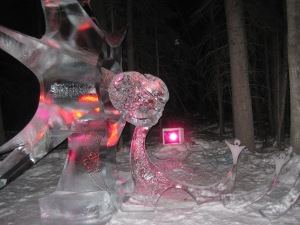 This ice sculpture from the World Ice Carving Championship memorializes the meteor that landed in Russia in 2013. Photo by author.